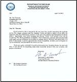 MDA Transition Commendation Letter